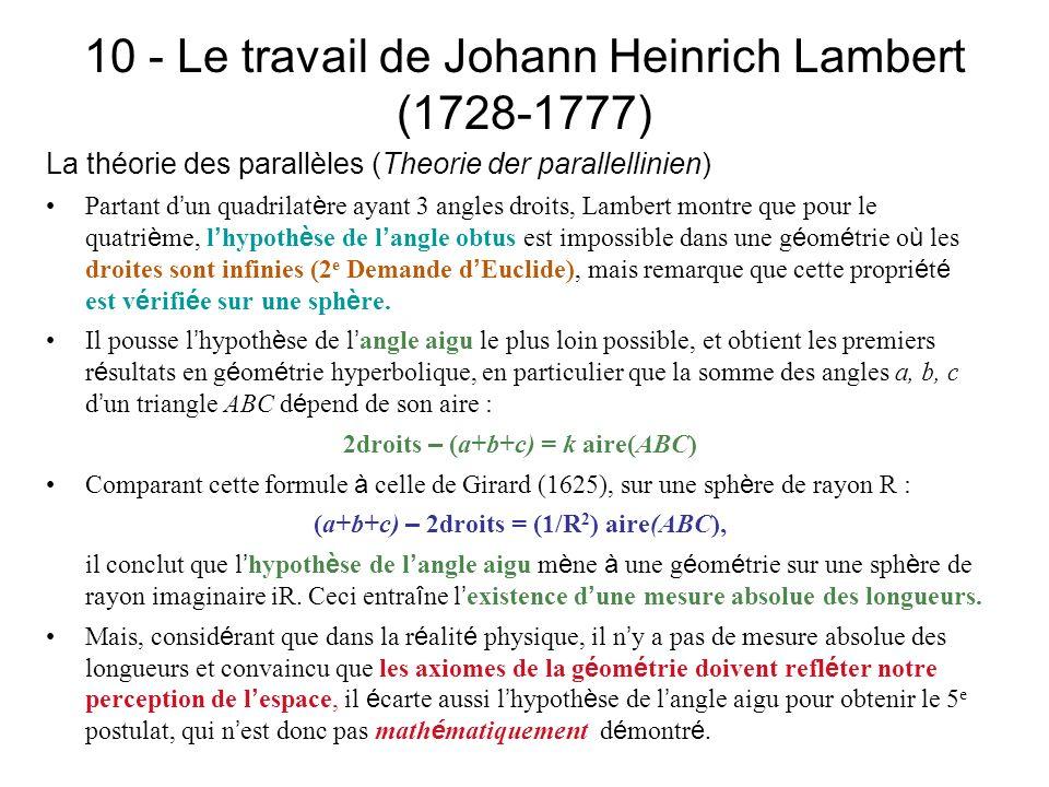 10 - Le travail de Johann Heinrich Lambert (1728-1777) La théorie des parallèles (Theorie der parallellinien) Partant d un quadrilat è re ayant 3 angl