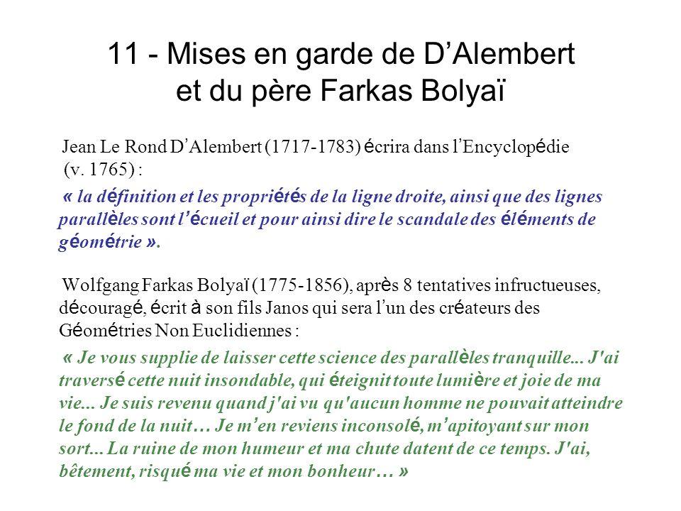 11 - Mises en garde de DAlembert et du père Farkas Bolyaï Jean Le Rond D Alembert (1717-1783) é crira dans l Encyclop é die (v. 1765) : « la d é finit