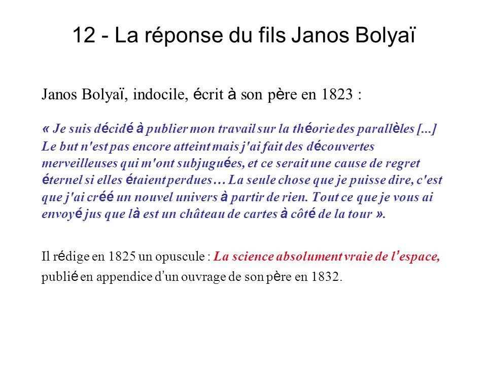 12 - La réponse du fils Janos Bolyaï Janos Bolya ï, indocile, é crit à son p è re en 1823 : « Je suis d é cid é à publier mon travail sur la th é orie