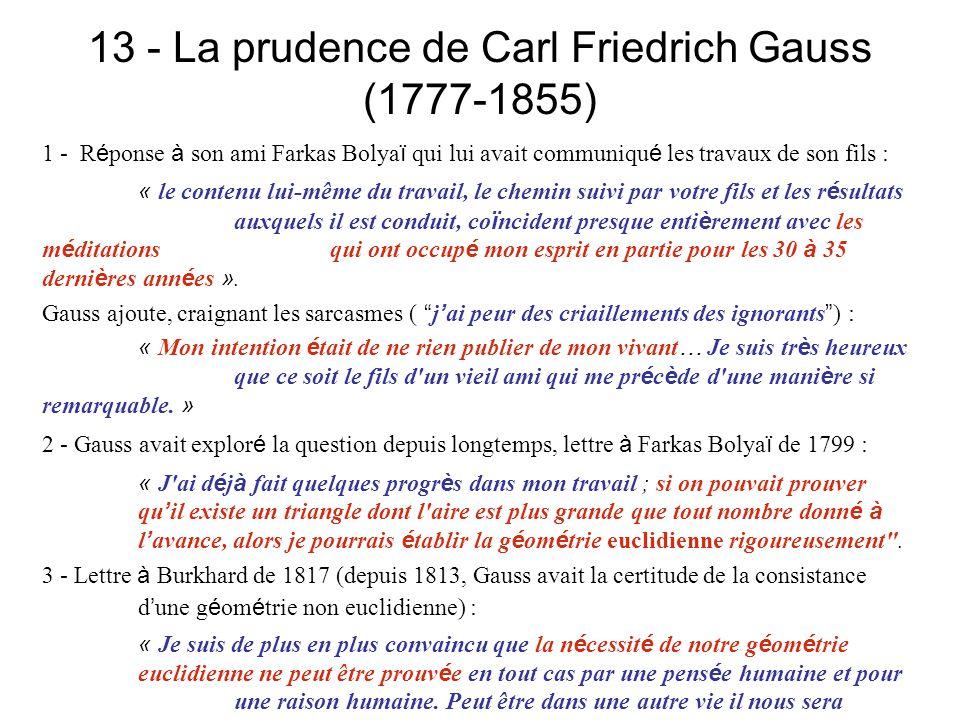 13 - La prudence de Carl Friedrich Gauss (1777-1855) 1 - R é ponse à son ami Farkas Bolya ï qui lui avait communiqu é les travaux de son fils : « le c