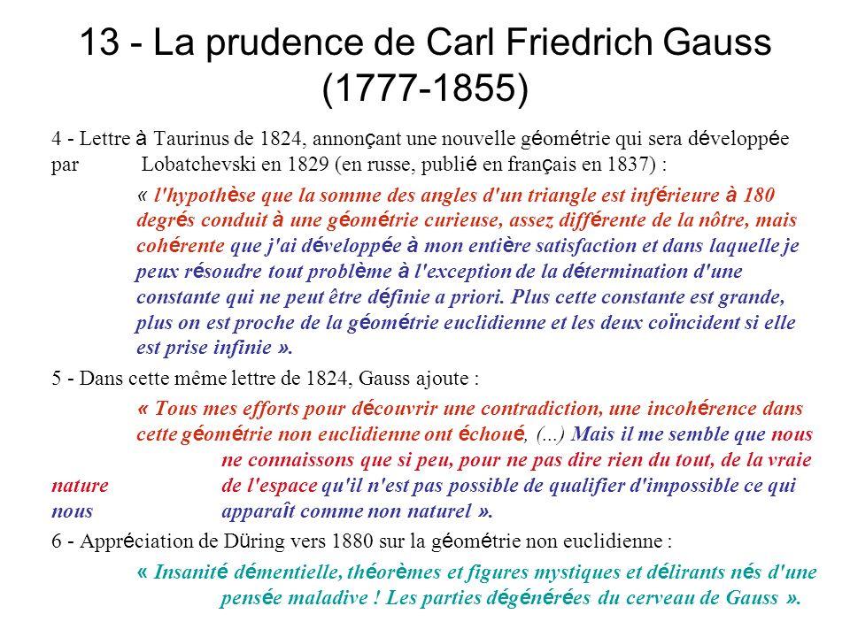 13 - La prudence de Carl Friedrich Gauss (1777-1855) 4 - Lettre à Taurinus de 1824, annon ç ant une nouvelle g é om é trie qui sera d é velopp é e par