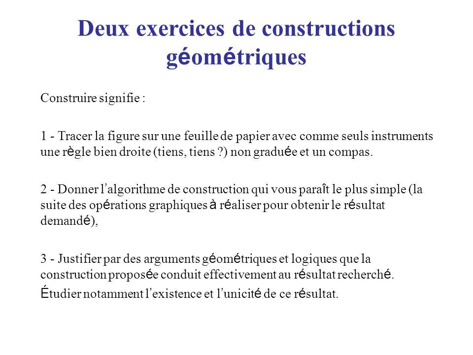 Deux exercices de constructions g é om é triques Construire signifie : 1 - Tracer la figure sur une feuille de papier avec comme seuls instruments une