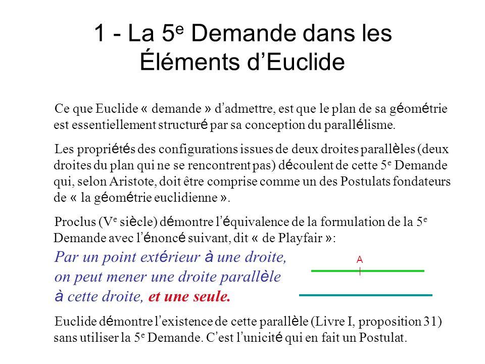 1 - La 5 e Demande dans les Éléments La structure g é niale du Livre I des É l é ments Dans son Livre I, Euclide a voulu explorer d abord toutes les propri é t é s de base en g é om é trie qui ne supposent pas le 5 e Postulat.