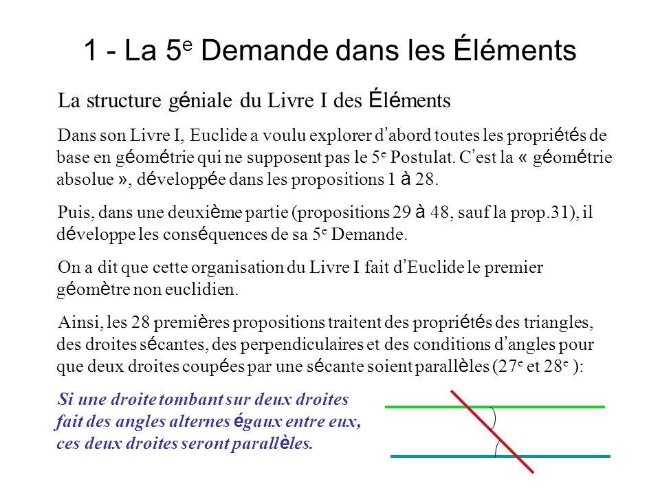 1 - La 5 e Demande dans les Éléments La Th é orie des parall è les Euclide fait de la contrapos é e logique (A B é quivaut à non B non A) de sa 5 e Demande, sa 29 e proposition, c est la propri é t é r é ciproque de la 27 e : Une droite qui tombe sur deux droites parall è les fait les angles alternes é gaux entre eux … Puis il en d é duit dans les propositions suivantes les propri é t é s de base du parall é lisme, notamment celles des parall é logrammes (prop.