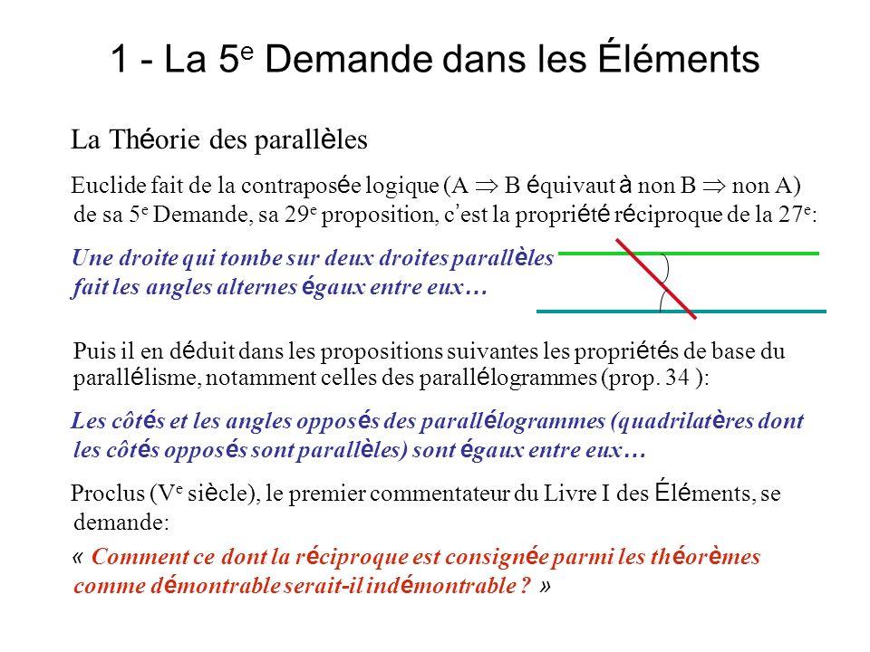 1 - La 5 e Demande dans les Éléments La Th é orie des parall è les Euclide fait de la contrapos é e logique (A B é quivaut à non B non A) de sa 5 e De
