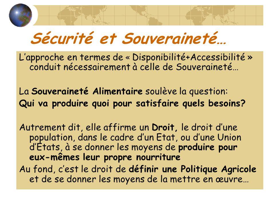 Sécurité et Souveraineté… Lapproche en termes de « Disponibilité+Accessibilité » conduit nécessairement à celle de Souveraineté… La Souveraineté Alimentaire soulève la question: Qui va produire quoi pour satisfaire quels besoins.