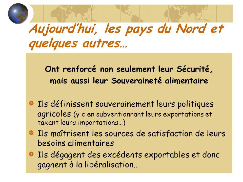 Aujourdhui, les pays du Nord et quelques autres… Ont renforcé non seulement leur Sécurité, mais aussi leur Souveraineté alimentaire Ils définissent so