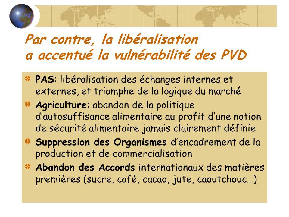 Par contre, la libéralisation a accentué la vulnérabilité des PVD PAS: libéralisation des échanges internes et externes, et triomphe de la logique du