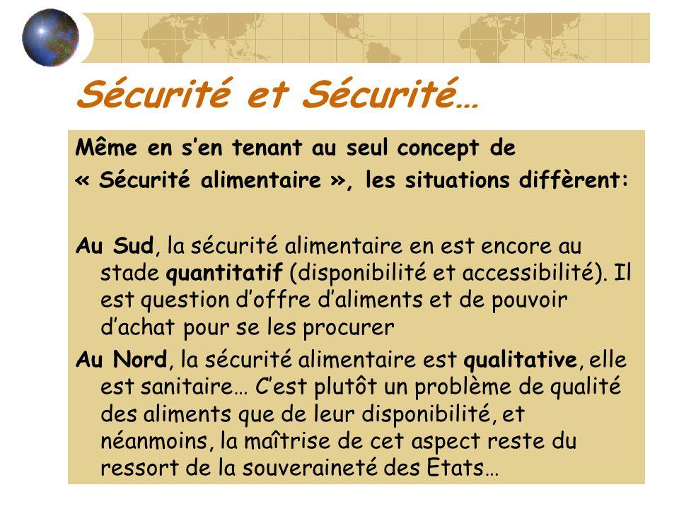 Sécurité et Sécurité… Même en sen tenant au seul concept de « Sécurité alimentaire », les situations diffèrent: Au Sud, la sécurité alimentaire en est encore au stade quantitatif (disponibilité et accessibilité).