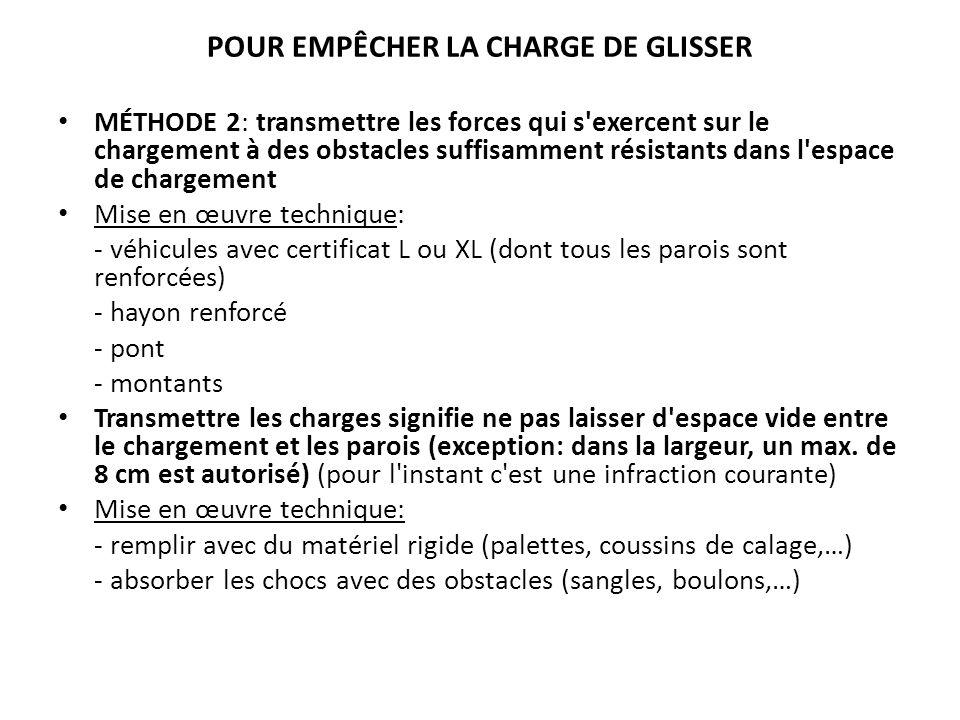 POUR EMPÊCHER LA CHARGE DE GLISSER MÉTHODE 2: transmettre les forces qui s'exercent sur le chargement à des obstacles suffisamment résistants dans l'e