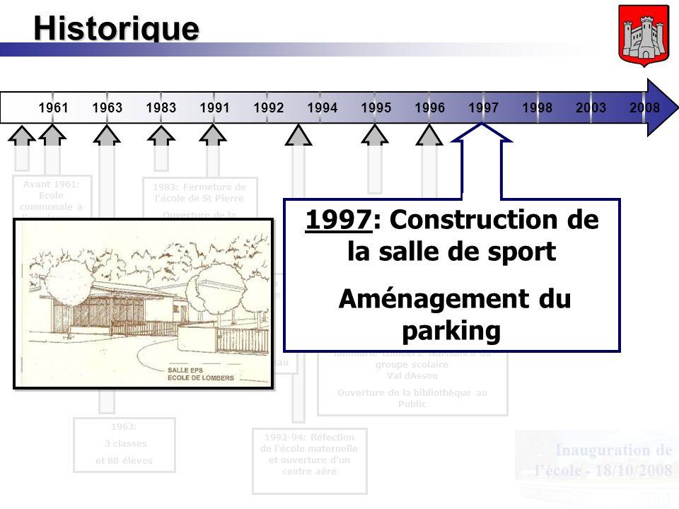 Inauguration de lécole - 18/10/2008 Historique 196119631983199119921994199519961997199820032008 1991: Création du réseau Tarn Centre 11 communes regro