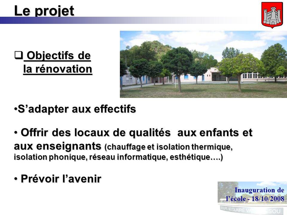 Inauguration de lécole - 18/10/2008 Le projet Objectifs de la rénovation Objectifs de la rénovation Sadapter aux effectifsSadapter aux effectifs Offri