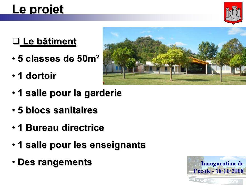 Inauguration de lécole - 18/10/2008 Le projet Le bâtiment Le bâtiment 5 classes de 50m² 5 classes de 50m² 1 dortoir 1 dortoir 1 salle pour la garderie