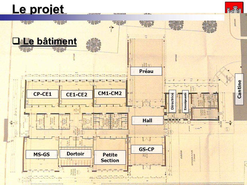Inauguration de lécole - 18/10/2008 Le projet Le bâtiment Le bâtiment CM1-CM2 Préau Hall CE1-CE2 CP-CE1 MS-GS Petite Section GS-CP Dortoir Cantine Directrice Enseignants