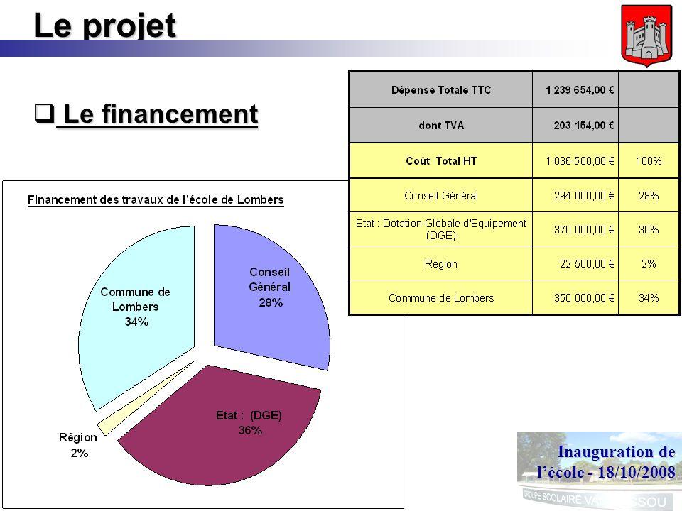 Inauguration de lécole - 18/10/2008 Le projet Le financement Le financement