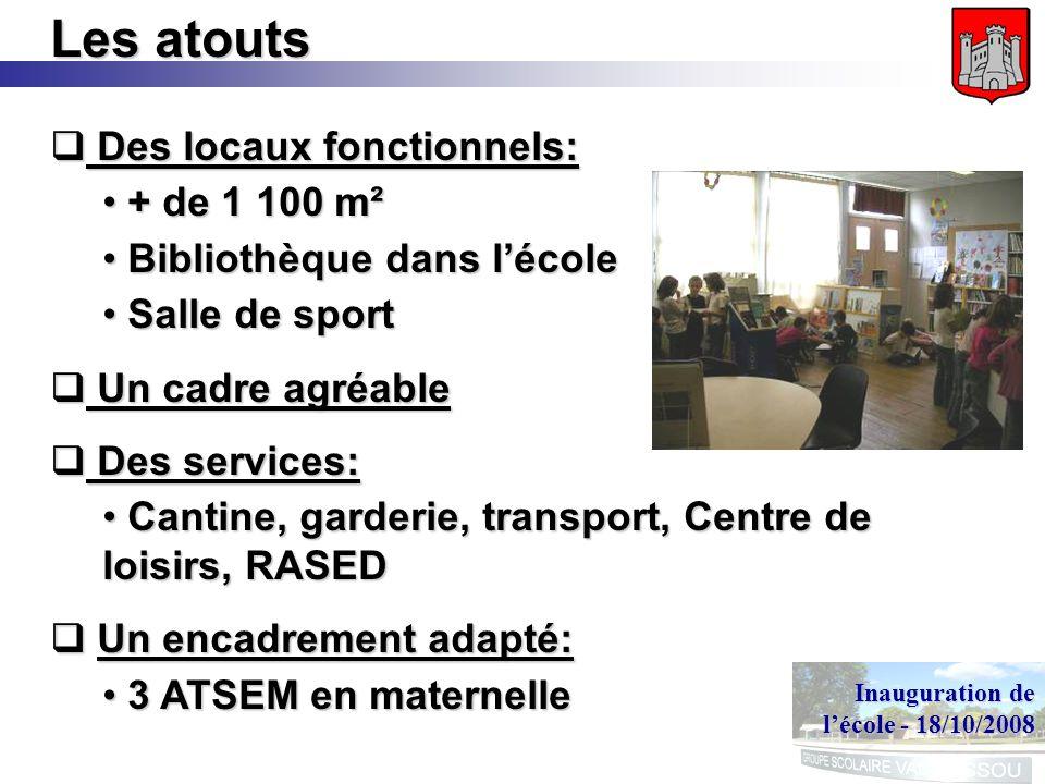 Inauguration de lécole - 18/10/2008 Les atouts Des locaux fonctionnels: Des locaux fonctionnels: + de 1 100 m² + de 1 100 m² Bibliothèque dans lécole