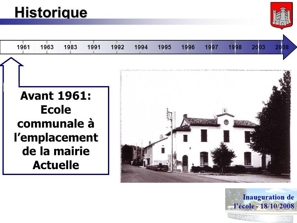 Inauguration de lécole - 18/10/2008 Historique 196119631983199119921994199519961997199820032008 Avant 1961: Ecole communale à lemplacement de la mairie Actuelle