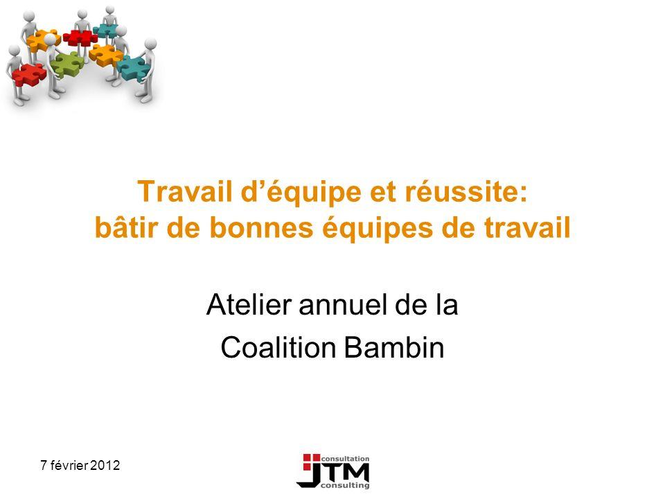 7 février 2012 Travail déquipe et réussite: bâtir de bonnes équipes de travail Atelier annuel de la Coalition Bambin