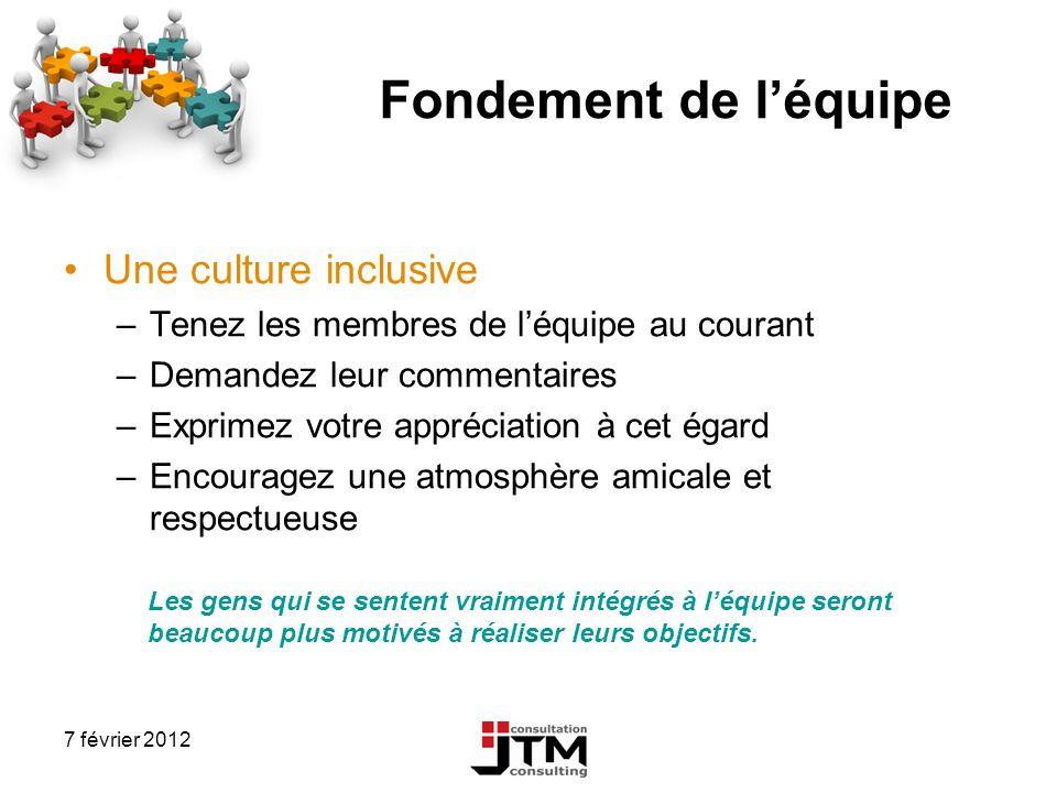 7 février 2012 Fondement de léquipe Une culture inclusive –Tenez les membres de léquipe au courant –Demandez leur commentaires –Exprimez votre appréci