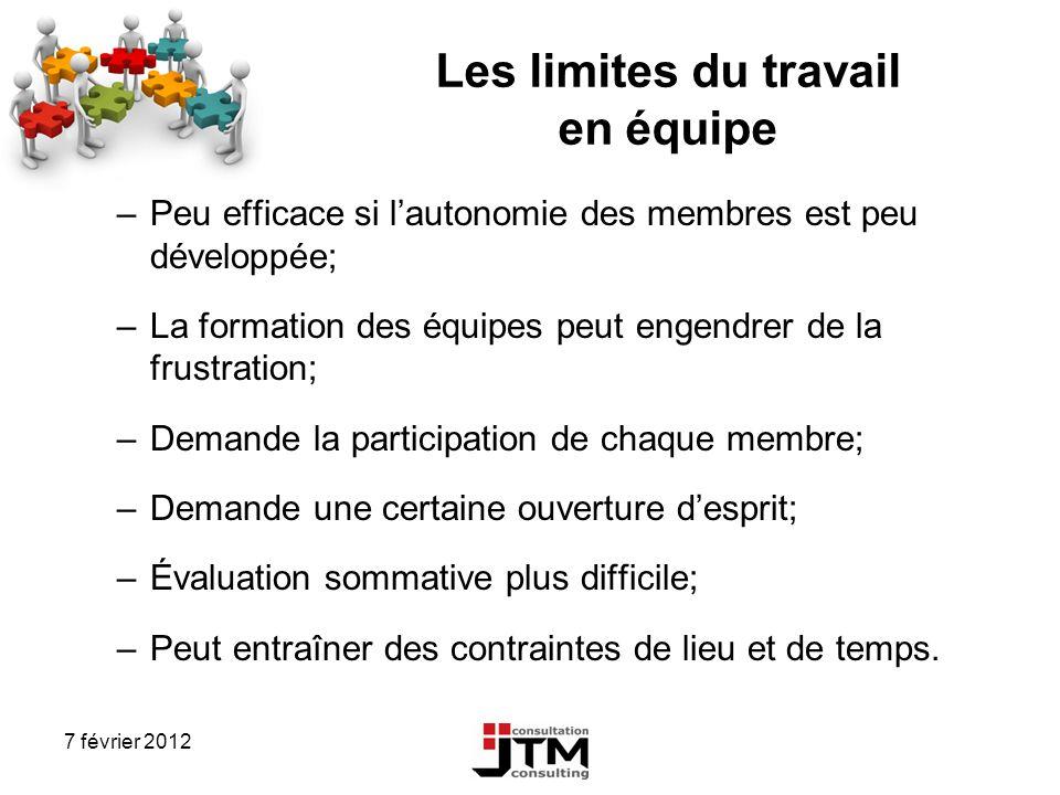 7 février 2012 Les limites du travail en équipe –Peu efficace si lautonomie des membres est peu développée; –La formation des équipes peut engendrer d