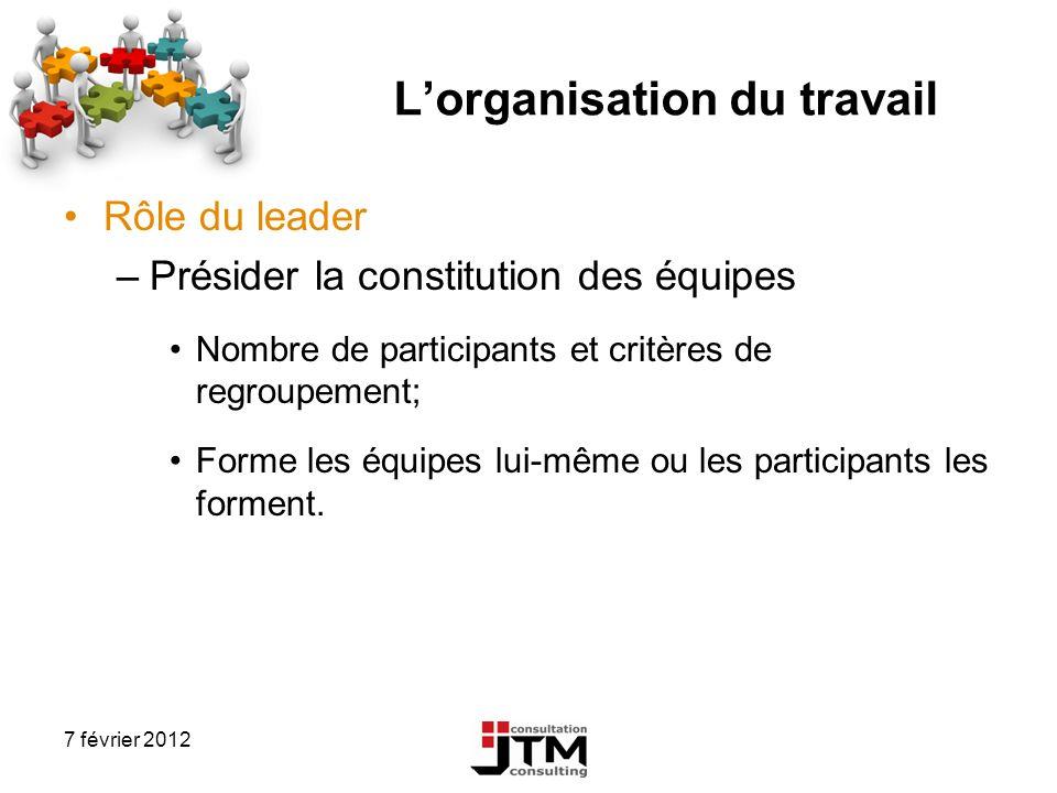 7 février 2012 Lorganisation du travail Rôle du leader –Présider la constitution des équipes Nombre de participants et critères de regroupement; Forme