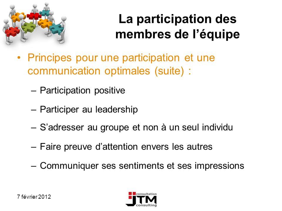 7 février 2012 La participation des membres de léquipe Principes pour une participation et une communication optimales (suite) : –Participation positi