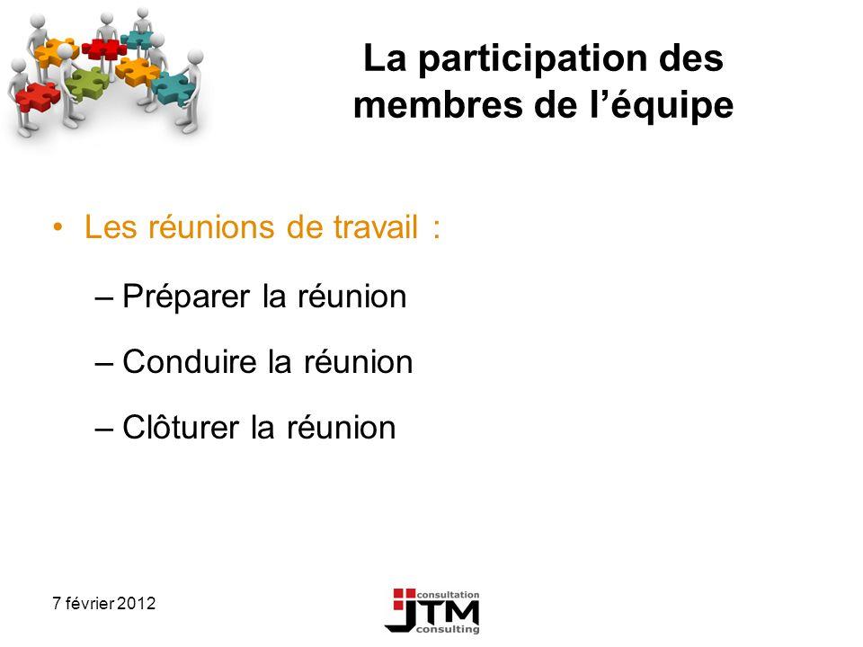 7 février 2012 La participation des membres de léquipe Les réunions de travail : –Préparer la réunion –Conduire la réunion –Clôturer la réunion