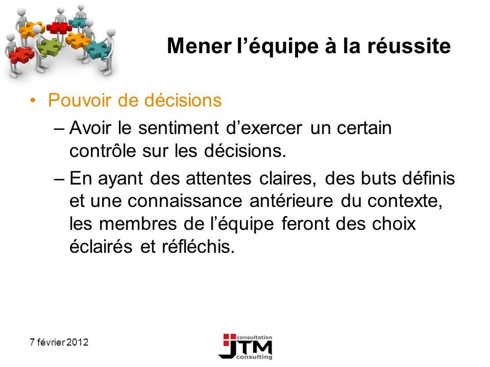 7 février 2012 Mener léquipe à la réussite Pouvoir de décisions –Avoir le sentiment dexercer un certain contrôle sur les décisions. –En ayant des atte