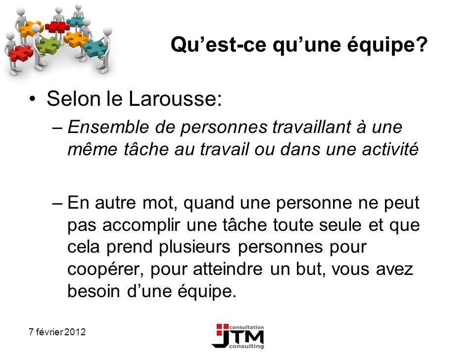 7 février 2012 Quest-ce quune équipe? Selon le Larousse: –Ensemble de personnes travaillant à une même tâche au travail ou dans une activité –En autre