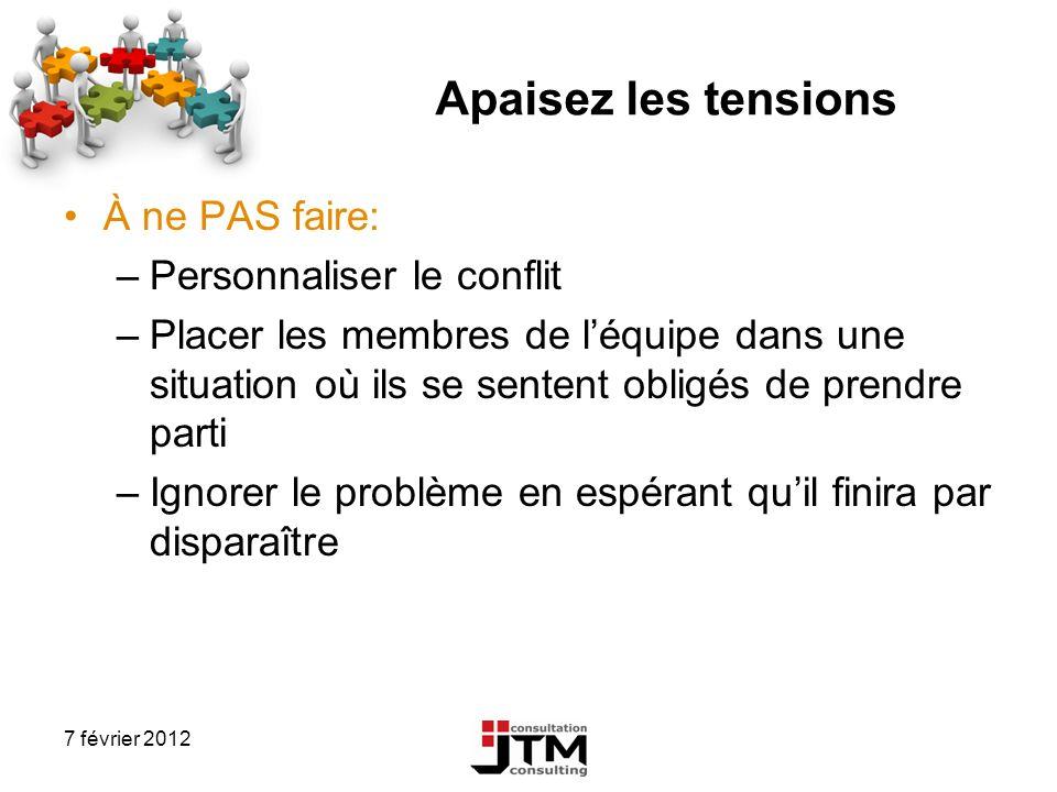 7 février 2012 Apaisez les tensions À ne PAS faire: –Personnaliser le conflit –Placer les membres de léquipe dans une situation où ils se sentent obli