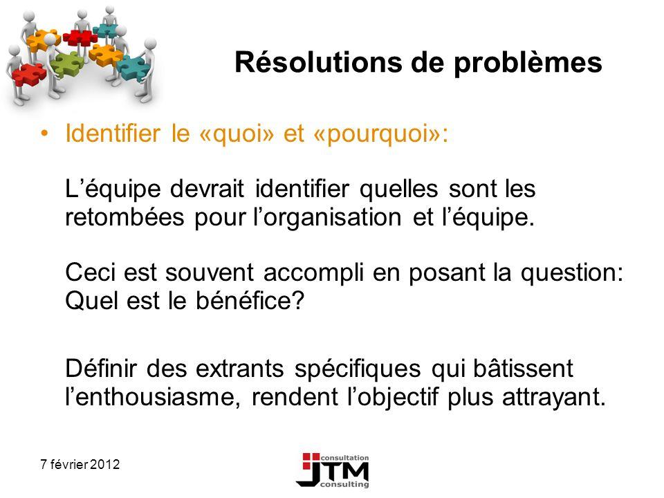 7 février 2012 Résolutions de problèmes Identifier le «quoi» et «pourquoi»: Léquipe devrait identifier quelles sont les retombées pour lorganisation e