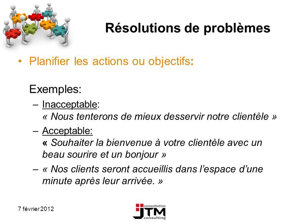 7 février 2012 Résolutions de problèmes Planifier les actions ou objectifs: Exemples: –Inacceptable: « Nous tenterons de mieux desservir notre clientè
