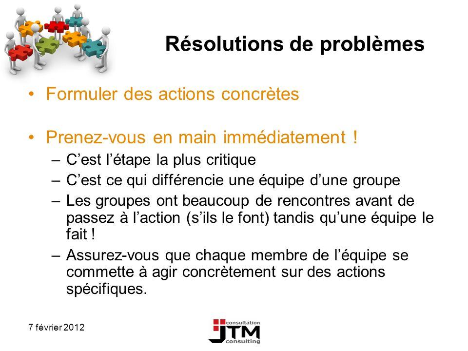 7 février 2012 Résolutions de problèmes Formuler des actions concrètes Prenez-vous en main immédiatement ! –Cest létape la plus critique –Cest ce qui