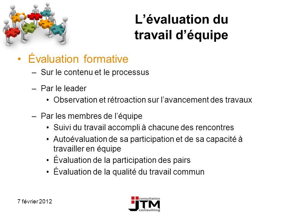 7 février 2012 Lévaluation du travail déquipe Évaluation formative –Sur le contenu et le processus –Par le leader Observation et rétroaction sur lavan
