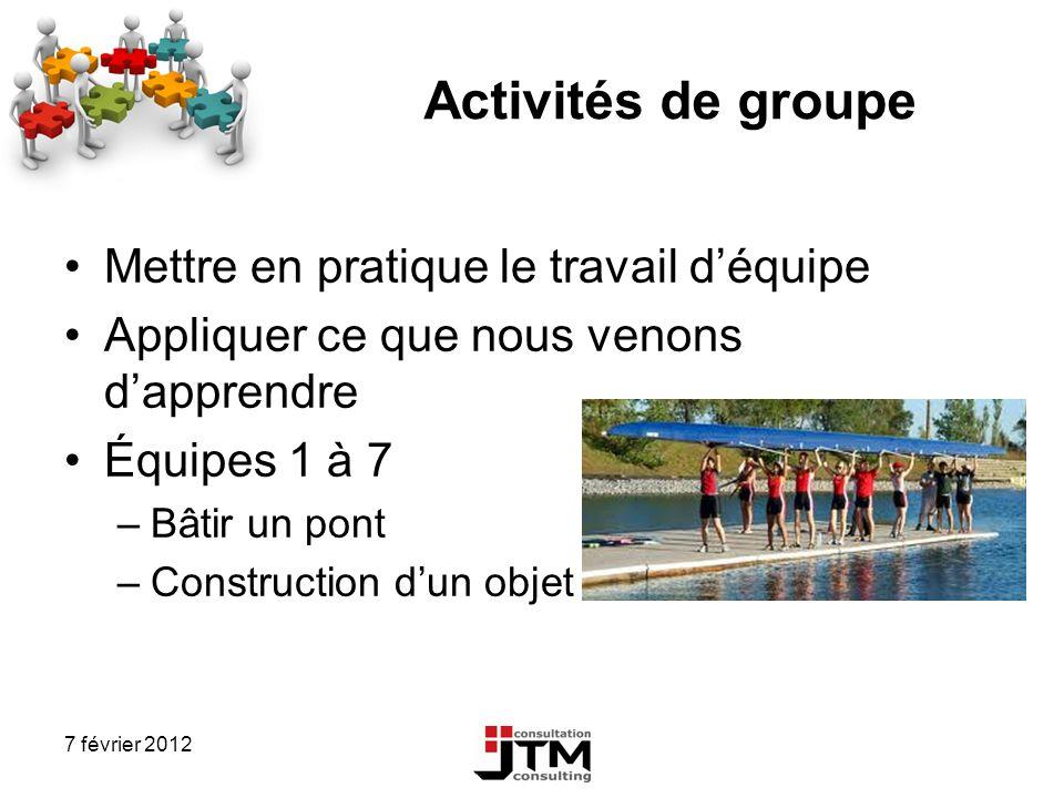 7 février 2012 Activités de groupe Mettre en pratique le travail déquipe Appliquer ce que nous venons dapprendre Équipes 1 à 7 –Bâtir un pont –Constru