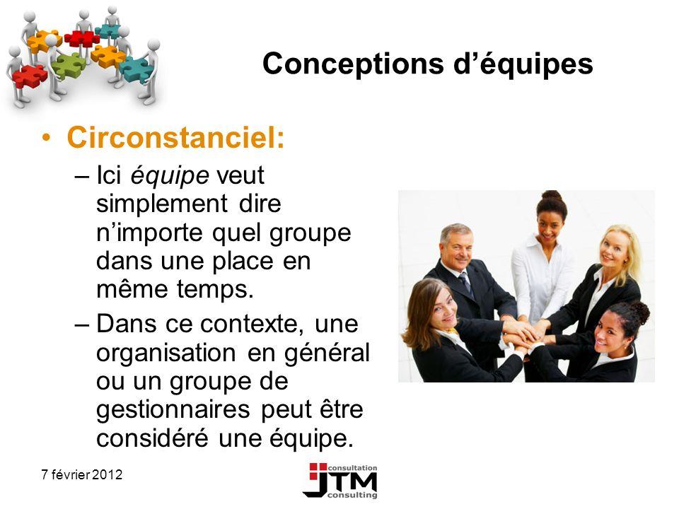 7 février 2012 Conceptions déquipes Circonstanciel: –Ici équipe veut simplement dire nimporte quel groupe dans une place en même temps. –Dans ce conte
