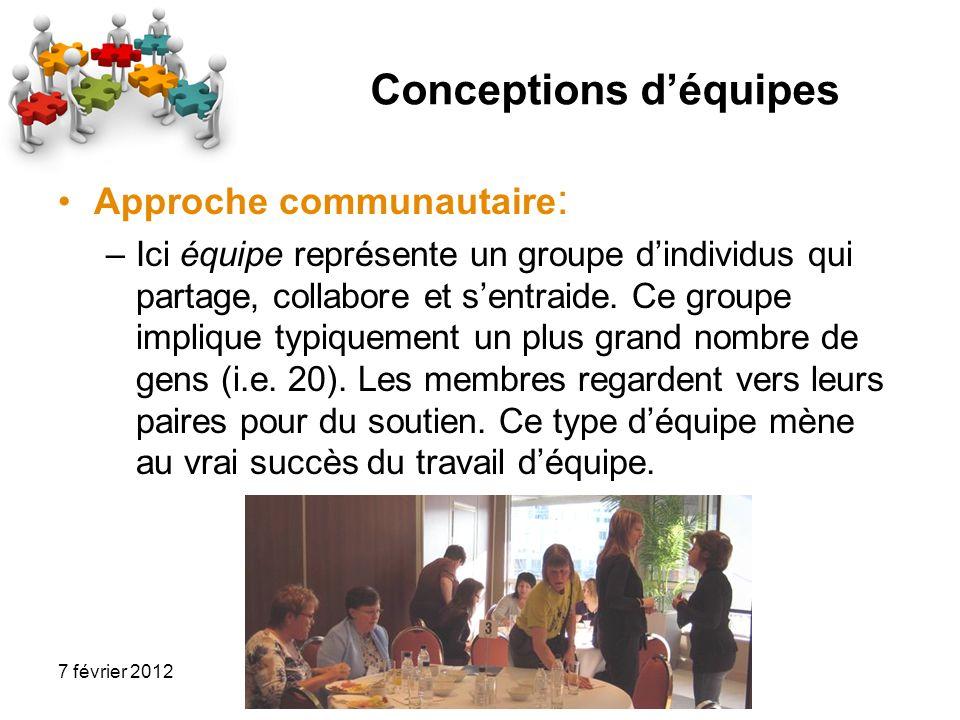 7 février 2012 Conceptions déquipes Approche communautaire : –Ici équipe représente un groupe dindividus qui partage, collabore et sentraide. Ce group