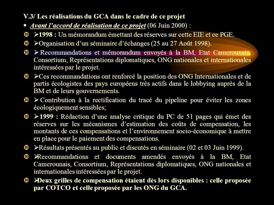 V.3/ Les réalisations du GCA dans le cadre de ce projet Avant laccord de réalisation de ce projet (06 Juin 2000) : 1998 : Un mémorandum émettant des réserves sur cette EIE et ce PGE.