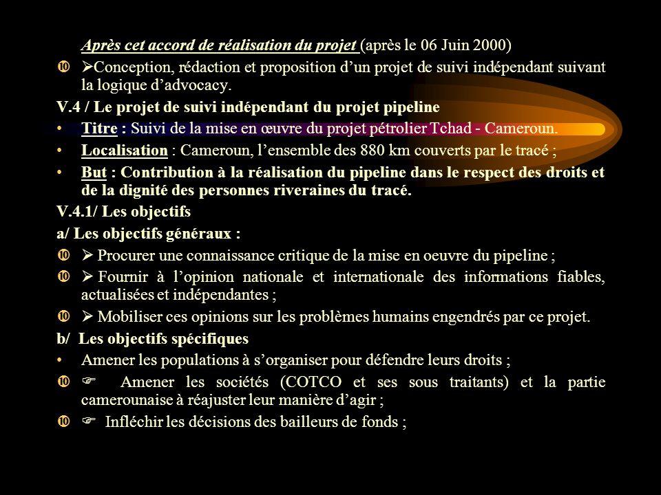 Après cet accord de réalisation du projet (après le 06 Juin 2000) Conception, rédaction et proposition dun projet de suivi indépendant suivant la logique dadvocacy.
