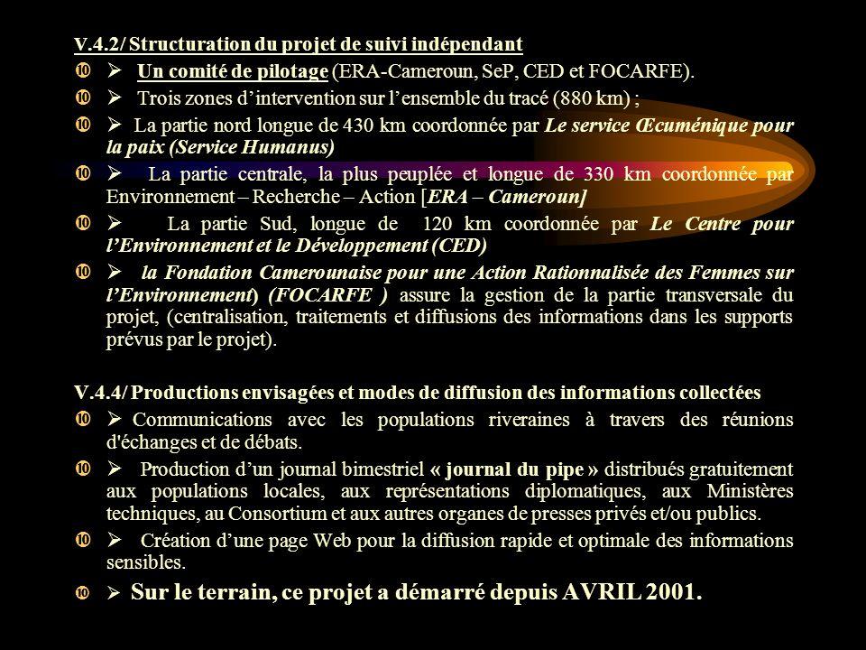 V.4.2/ Structuration du projet de suivi indépendant Un comité de pilotage (ERA-Cameroun, SeP, CED et FOCARFE). Trois zones dintervention sur lensemble