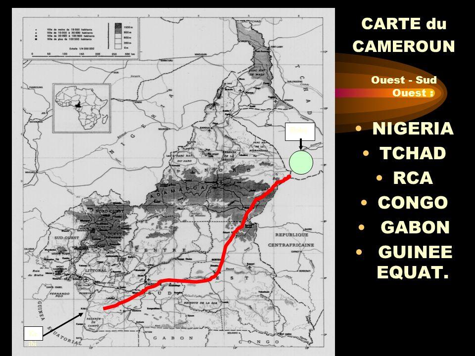 CARTE du CAMEROUN Ouest - Sud Ouest : NIGERIA TCHAD RCA CONGO GABON GUINEE EQUAT. Kr ibi Doba