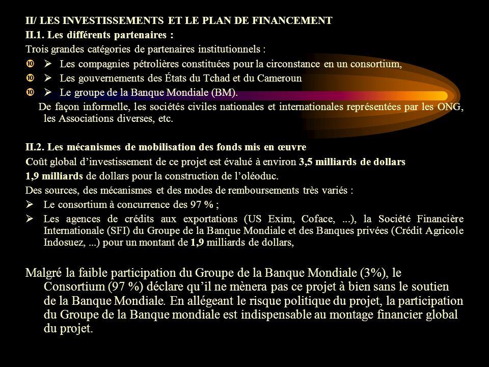 II/ LES INVESTISSEMENTS ET LE PLAN DE FINANCEMENT II.1.