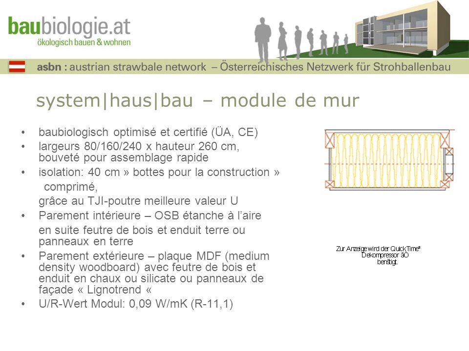 system|haus|bau – module de mur baubiologisch optimisé et certifié (ÜA, CE) largeurs 80/160/240 x hauteur 260 cm, bouveté pour assemblage rapide isola