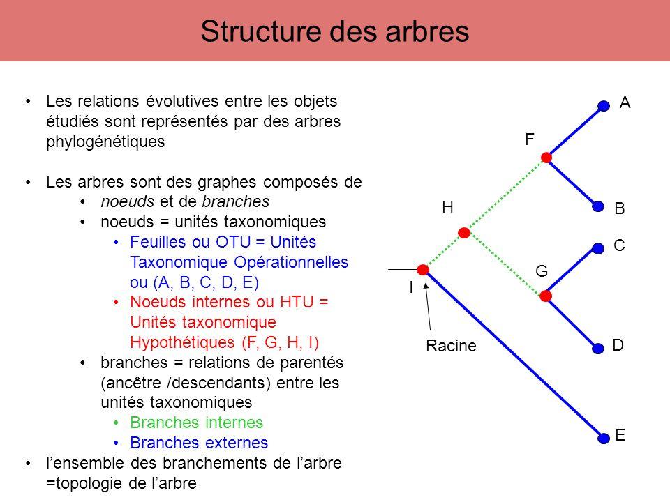 Calcul de toutes les distances évolutives (D ij ) séparant chaque paire dUTO Élaboration dune matrice de distances à partir dun alignement Reconstruction dun arbre phylogénique dont les longueurs de branches (d ij ) représentent au mieux les distances évolutives de la matrice (D ij ) minimise Q = Σ n i=1 Σ n j=1 (D ij – d ij )² Méthodes de distances - Principe général