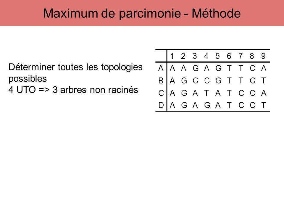 123456789 AAAGAGTTCA BAGCCGTTCT CAGATATCCA DAGAGATCCT Déterminer toutes les topologies possibles 4 UTO => 3 arbres non racinés Maximum de parcimonie -