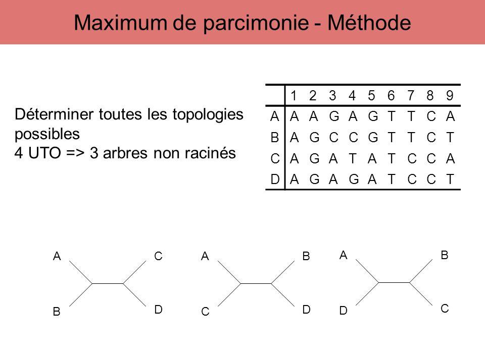 123456789 AAAGAGTTCA BAGCCGTTCT CAGATATCCA DAGAGATCCT A B C D A C B D A D B C Déterminer toutes les topologies possibles 4 UTO => 3 arbres non racinés