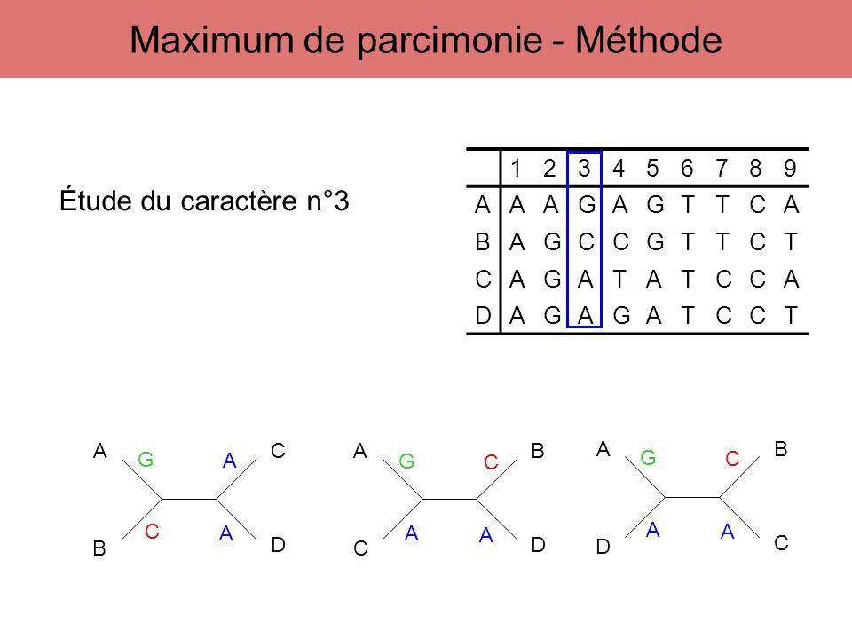 123456789 AAAGAGTTCA BAGCCGTTCT CAGATATCCA DAGAGATCCT A B C D A C B D A D B C Étude du caractère n°3 G C A A G A A C G A A C Maximum de parcimonie - M
