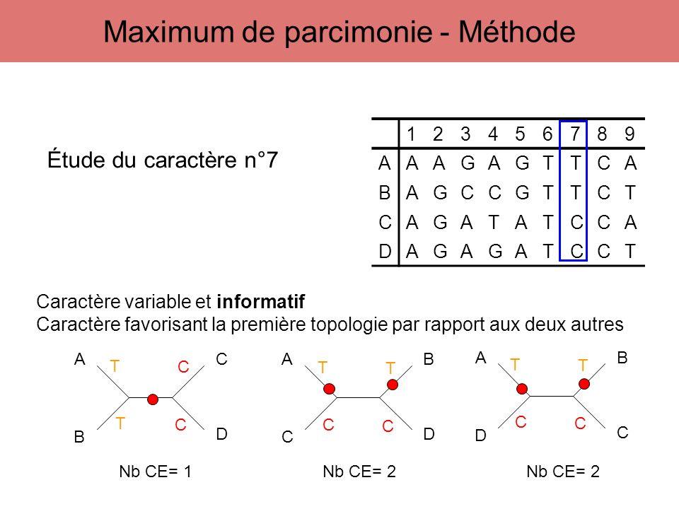 123456789 AAAGAGTTCA BAGCCGTTCT CAGATATCCA DAGAGATCCT A B C D A C B D A D B C Étude du caractère n°7 T T C C T C C T T C C T Caractère variable et inf
