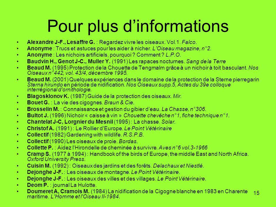 15 Pour plus dinformations Alexandre J-F., Lesaffre G.