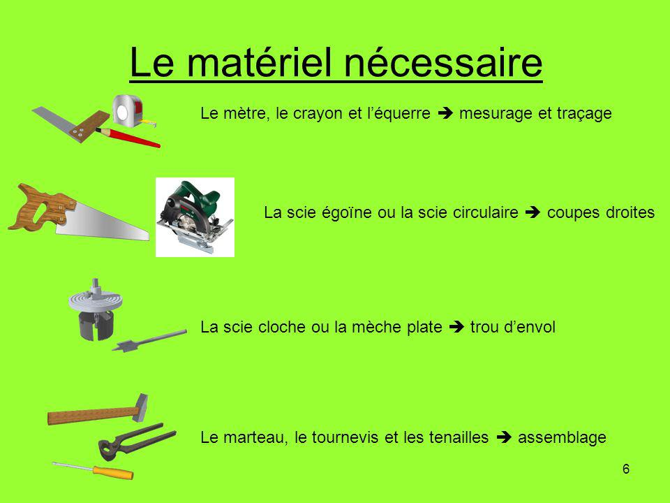 6 Le matériel nécessaire Le mètre, le crayon et léquerre mesurage et traçage La scie égoïne ou la scie circulaire coupes droites La scie cloche ou la mèche plate trou denvol Le marteau, le tournevis et les tenailles assemblage